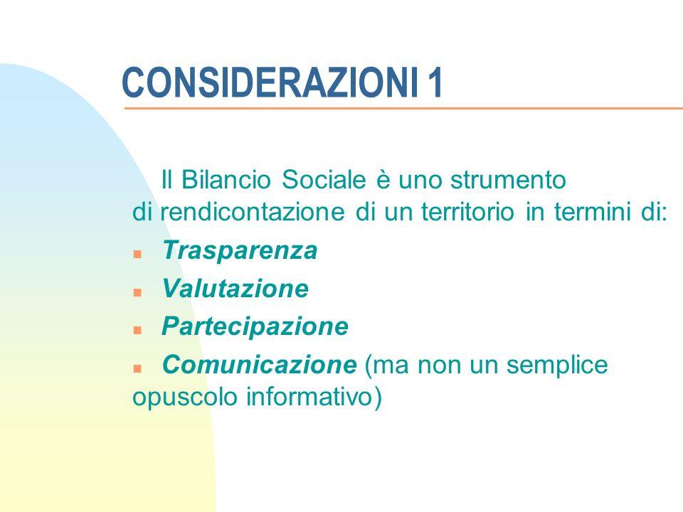 CONSIDERAZIONI 1 Il Bilancio Sociale è uno strumento di rendicontazione di un territorio in termini di: n Trasparenza n Valutazione n Partecipazione n Comunicazione (ma non un semplice opuscolo informativo)