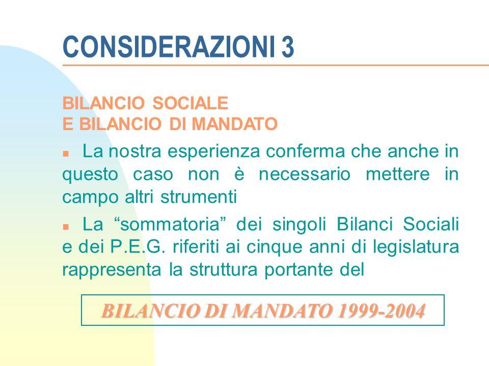 CONSIDERAZIONI 3 n La nostra esperienza conferma che anche in questo caso non è necessario mettere in campo altri strumenti n La sommatoria dei singoli Bilanci Sociali e dei P.E.G.