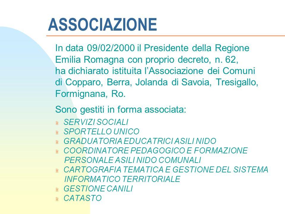 ASSOCIAZIONE In data 09/02/2000 il Presidente della Regione Emilia Romagna con proprio decreto, n.