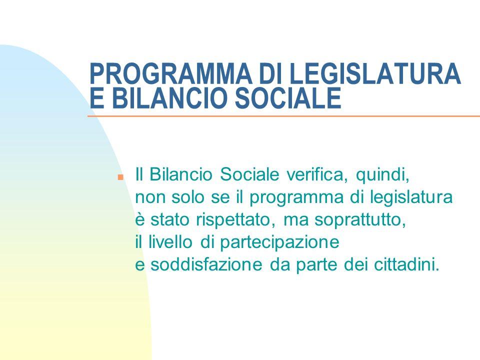 PROGRAMMA DI LEGISLATURA E BILANCIO SOCIALE n Il Bilancio Sociale verifica, quindi, non solo se il programma di legislatura è stato rispettato, ma soprattutto, il livello di partecipazione e soddisfazione da parte dei cittadini.