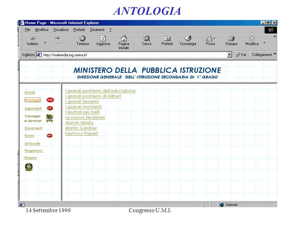14 Settembre 1999Congresso U.M.I. ANTOLOGIA
