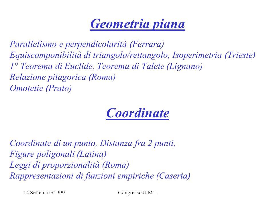 14 Settembre 1999Congresso U.M.I. Geometria piana Parallelismo e perpendicolarità (Ferrara) Equiscomponibilità di triangolo/rettangolo, Isoperimetria