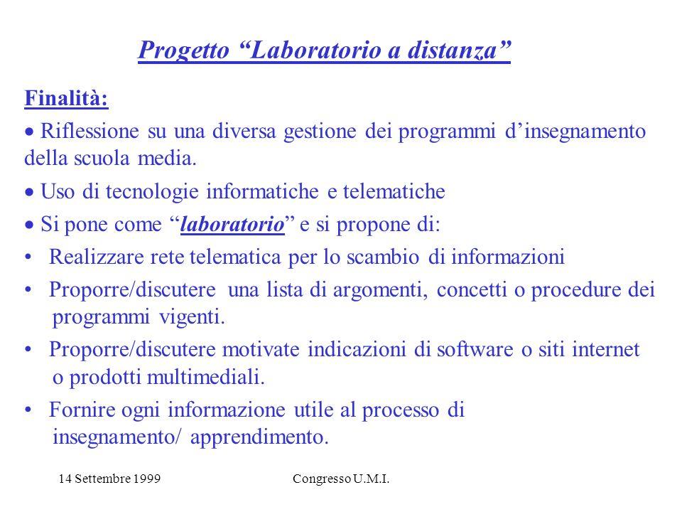 14 Settembre 1999Congresso U.M.I. Progetto Laboratorio a distanza Finalità: Riflessione su una diversa gestione dei programmi dinsegnamento della scuo