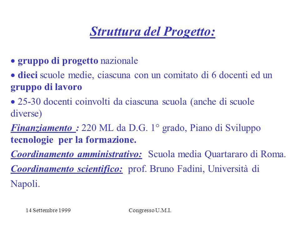 14 Settembre 1999Congresso U.M.I. Struttura del Progetto: gruppo di progetto nazionale dieci scuole medie, ciascuna con un comitato di 6 docenti ed un