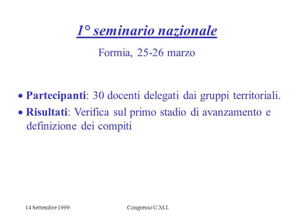 14 Settembre 1999Congresso U.M.I. 1° seminario nazionale Formia, 25-26 marzo Partecipanti: 30 docenti delegati dai gruppi territoriali. Risultati: Ver