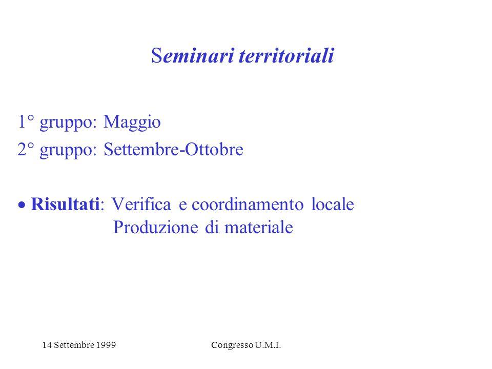 14 Settembre 1999Congresso U.M.I. Seminari territoriali 1° gruppo: Maggio 2° gruppo: Settembre-Ottobre Risultati: Verifica e coordinamento locale Prod