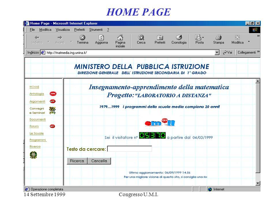 14 Settembre 1999Congresso U.M.I. HOME PAGE
