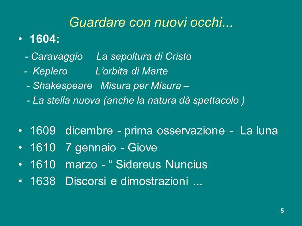 5 Guardare con nuovi occhi... 1604: - Caravaggio La sepoltura di Cristo - Keplero Lorbita di Marte - Shakespeare Misura per Misura – - La stella nuova
