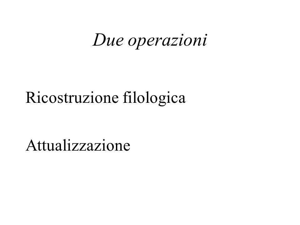 Due operazioni Ricostruzione filologica Attualizzazione