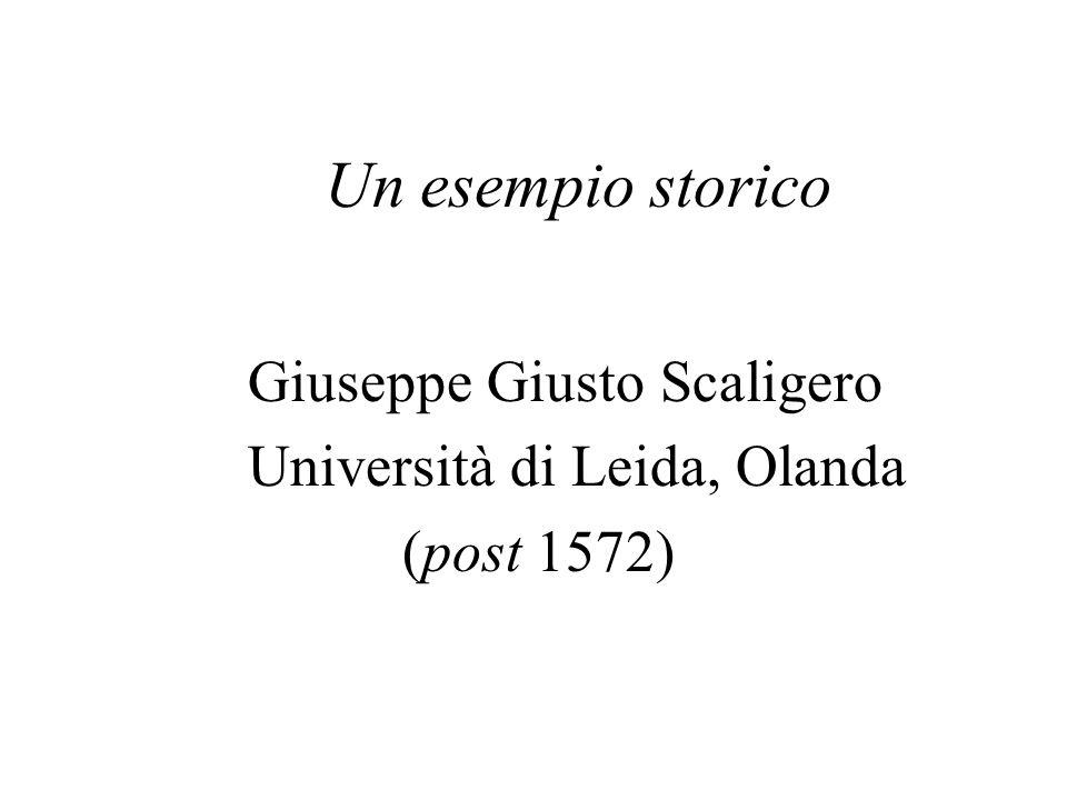 Un esempio storico Giuseppe Giusto Scaligero Università di Leida, Olanda (post 1572)