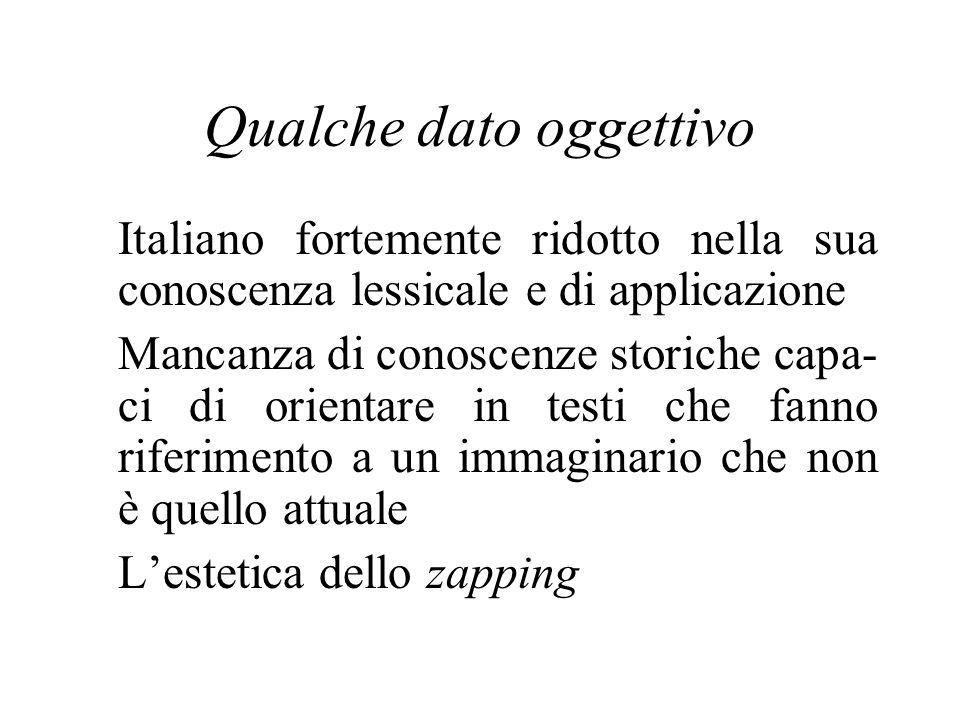 Qualche dato oggettivo Italiano fortemente ridotto nella sua conoscenza lessicale e di applicazione Mancanza di conoscenze storiche capa- ci di orientare in testi che fanno riferimento a un immaginario che non è quello attuale Lestetica dello zapping