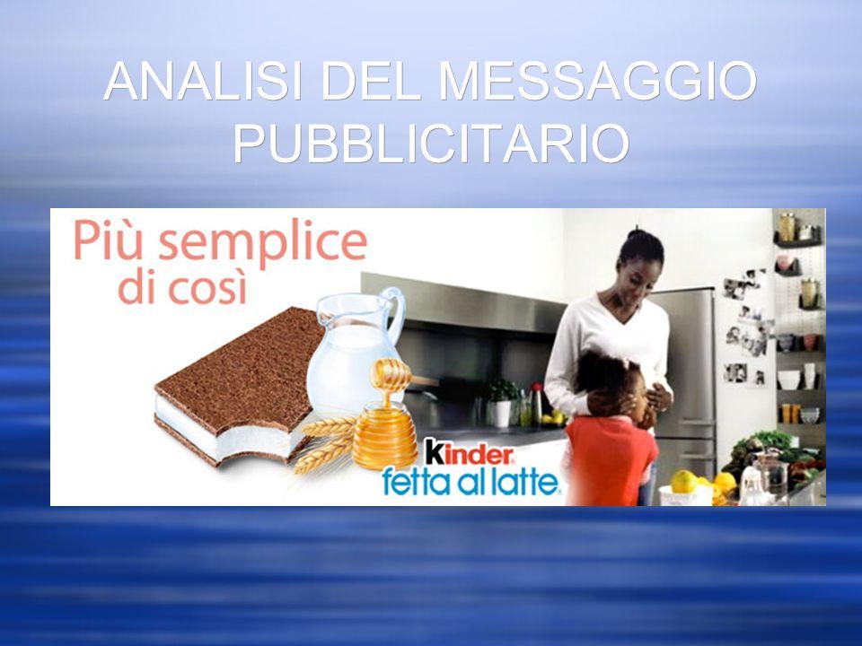 ANALISI DEL MESSAGGIO PUBBLICITARIO DESTINATARIO MITTENTE MEDIUM MESSAGGIO PRODOTTO