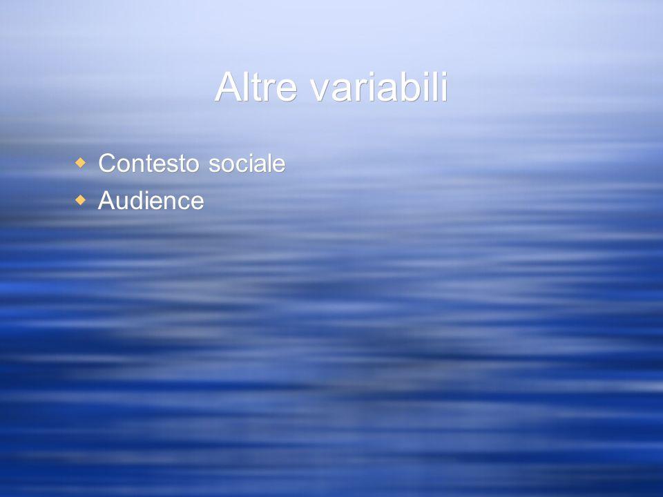 Altre variabili Contesto sociale Audience