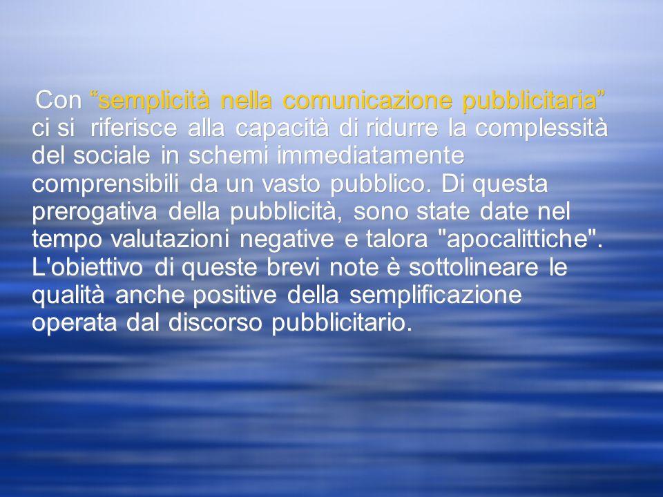 Con semplicità nella comunicazione pubblicitaria ci si riferisce alla capacità di ridurre la complessità del sociale in schemi immediatamente comprens