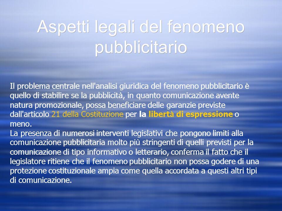 Aspetti legali del fenomeno pubblicitario Il problema centrale nell'analisi giuridica del fenomeno pubblicitario è quello di stabilire se la pubblicit
