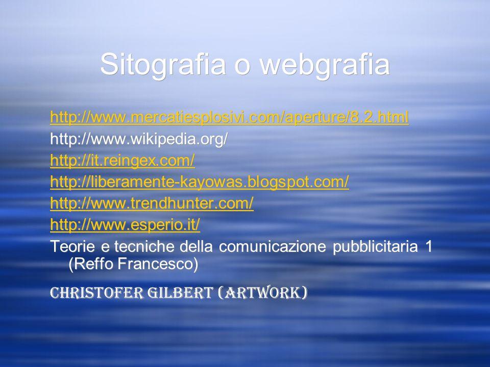 Sitografia o webgrafia http://www.mercatiesplosivi.com/aperture/8.2.html http://www.wikipedia.org/ http://it.reingex.com/ http://liberamente-kayowas.b