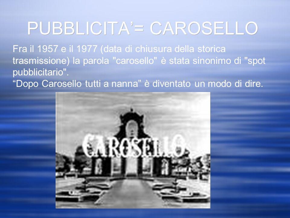 PUBBLICITA= CAROSELLO Fra il 1957 e il 1977 (data di chiusura della storica trasmissione) la parola