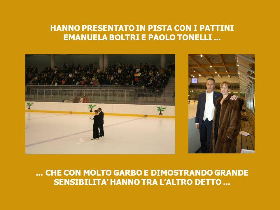 HANNO PRESENTATO IN PISTA CON I PATTINI EMANUELA BOLTRI E PAOLO TONELLI......