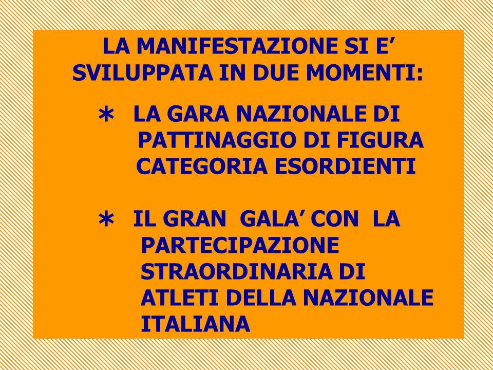 LA MANIFESTAZIONE SI E SVILUPPATA IN DUE MOMENTI: LA GARA NAZIONALE DI PATTINAGGIO DI FIGURA CATEGORIA ESORDIENTI IL GRAN GALA CON LA PARTECIPAZIONE STRAORDINARIA DI ATLETI DELLA NAZIONALE ITALIANA