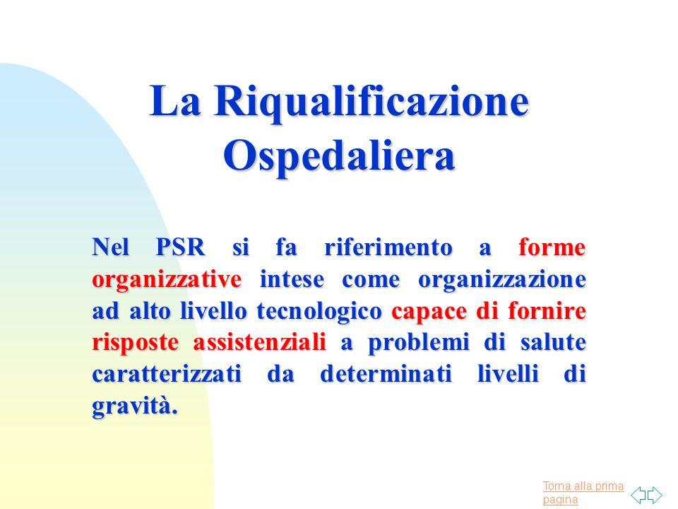 Torna alla prima pagina La Riqualificazione Ospedaliera Nel PSR si fa riferimento a forme organizzative intese come organizzazione ad alto livello tec
