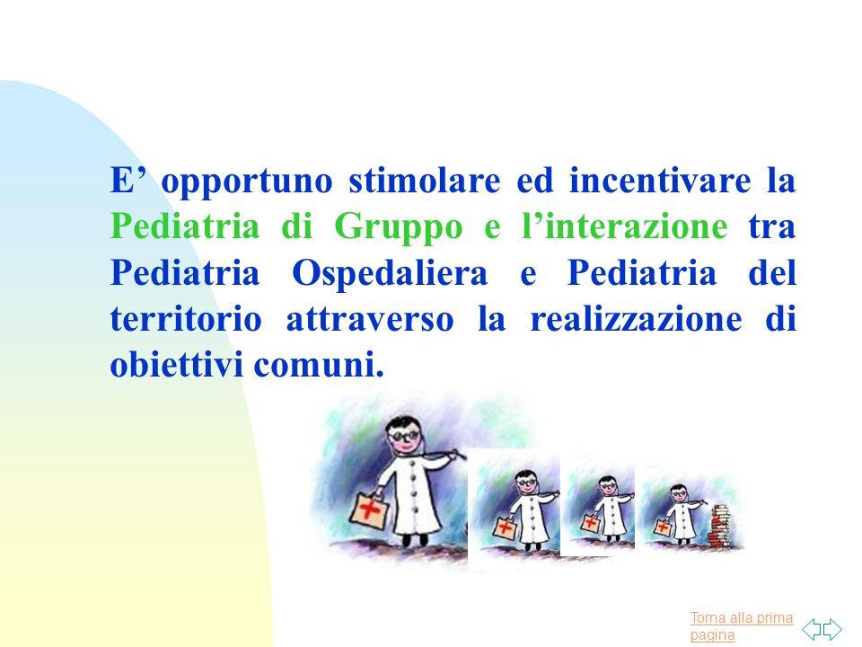 Torna alla prima pagina E opportuno stimolare ed incentivare la Pediatria di Gruppo e linterazione tra Pediatria Ospedaliera e Pediatria del territorio attraverso la realizzazione di obiettivi comuni.