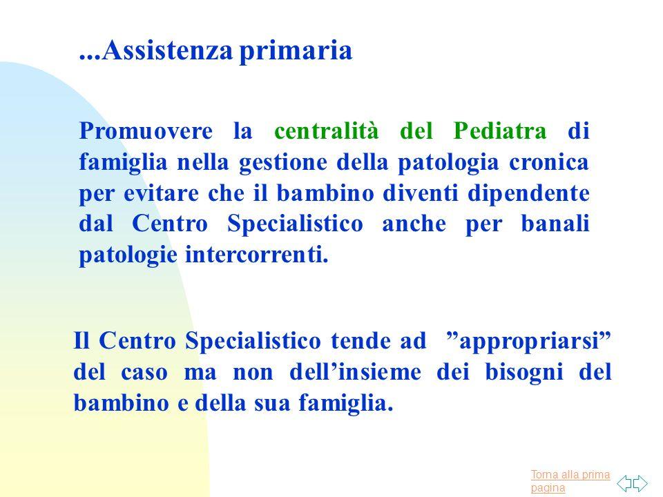 Torna alla prima pagina...Assistenza primaria Promuovere la centralità del Pediatra di famiglia nella gestione della patologia cronica per evitare che