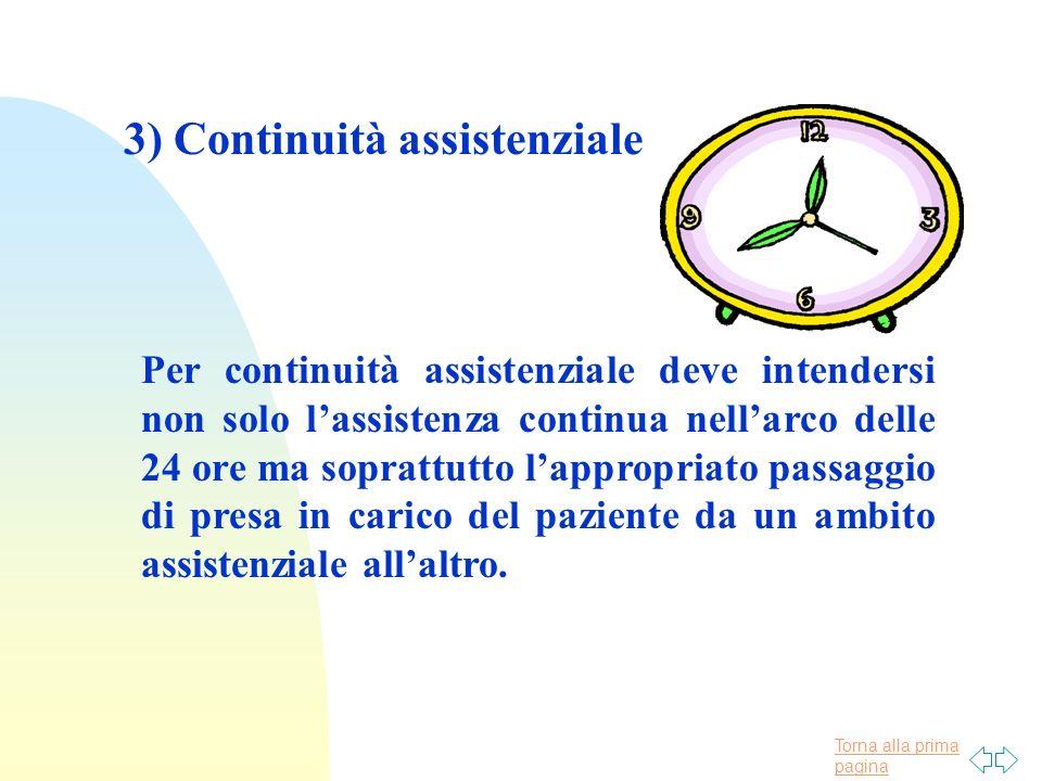 Torna alla prima pagina 3) Continuità assistenziale Per continuità assistenziale deve intendersi non solo lassistenza continua nellarco delle 24 ore m