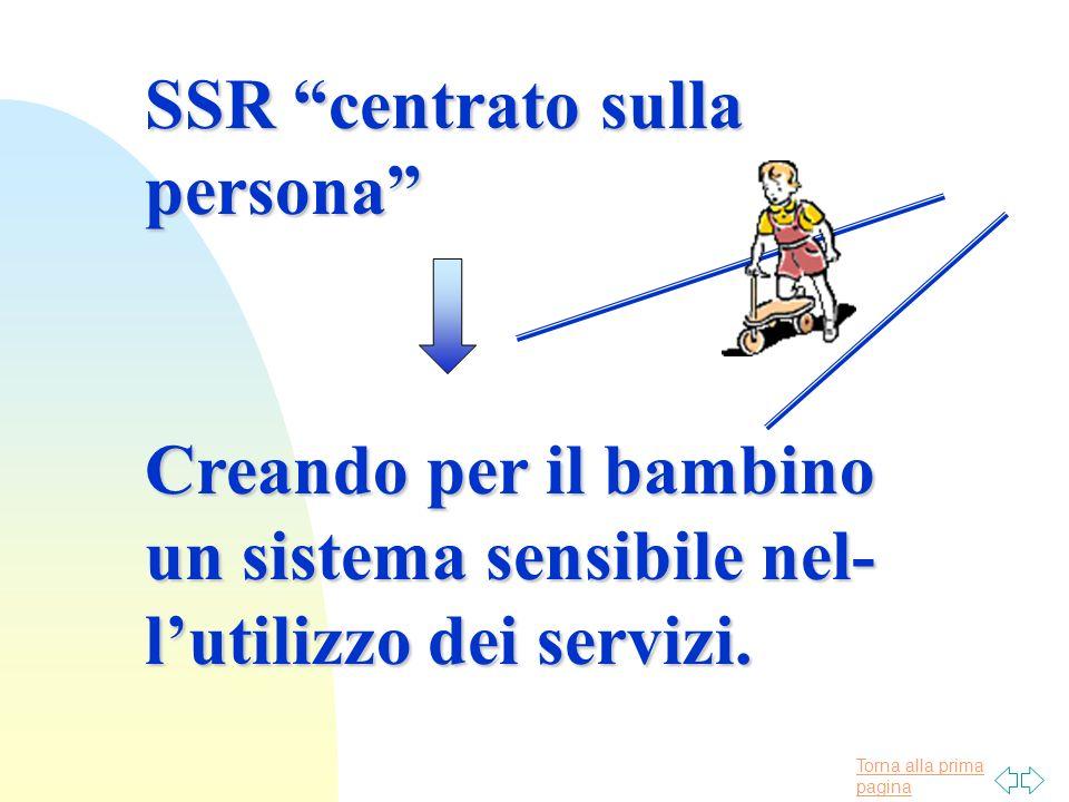 Torna alla prima pagina SSR centrato sulla persona Creando per il bambino un sistema sensibile nel- lutilizzo dei servizi.