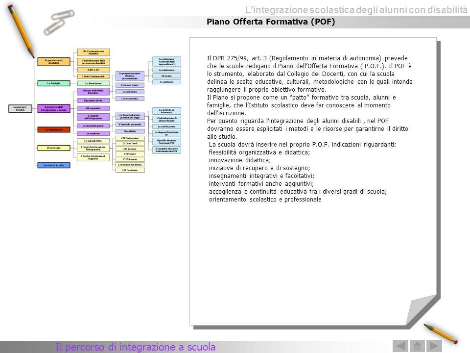 Lintegrazione scolastica degli alunni con disabilità Piano Offerta Formativa (POF) Il DPR 275/99, art. 3 (Regolamento in materia di autonomia) prevede