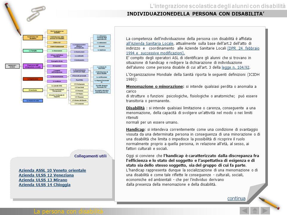 Lintegrazione scolastica degli alunni con disabilità La competenza dell'individuazione della persona con disabilità è affidata all'Azienda Sanitaria L
