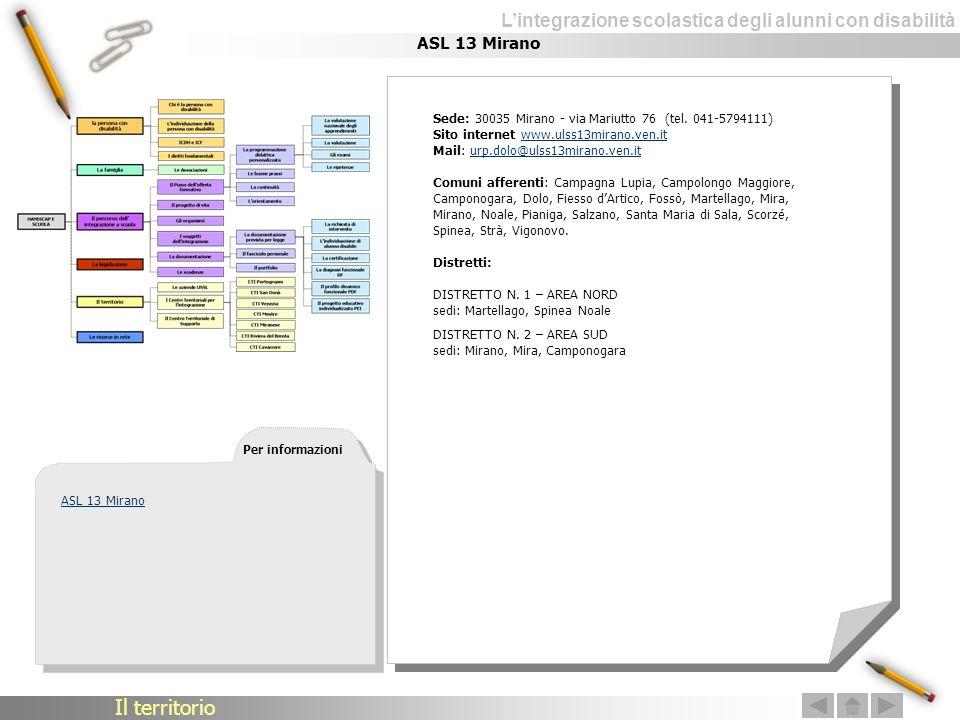 Lintegrazione scolastica degli alunni con disabilità ASL 13 Mirano Sede: 30035 Mirano - via Mariutto 76 (tel. 041-5794111) Sito internet www.ulss13mir