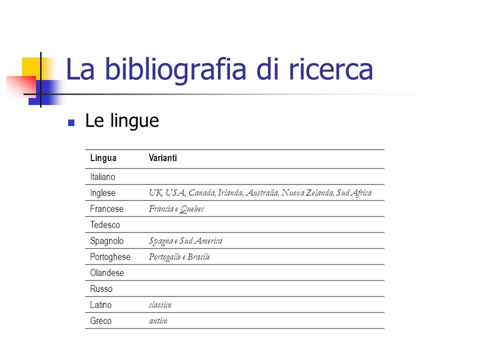 La bibliografia di ricerca Le lingue LinguaVarianti Italiano Inglese UK, USA, Canada, Irlanda, Australia, Nuova Zelanda, Sud Africa Francese Francia e