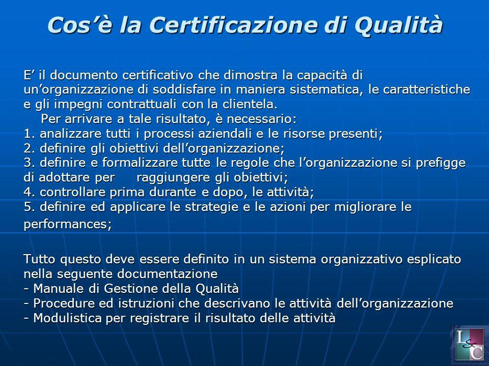 Cosè la Certificazione di Qualità E il documento certificativo che dimostra la capacità di unorganizzazione di soddisfare in maniera sistematica, le caratteristiche e gli impegni contrattuali con la clientela.