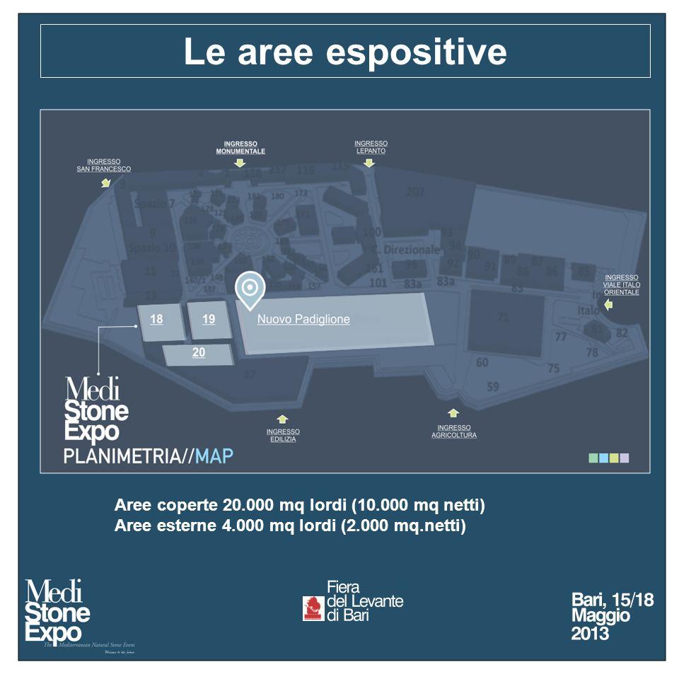 Le aree espositive Aree coperte 20.000 mq lordi (10.000 mq netti) Aree esterne 4.000 mq lordi (2.000 mq.netti)