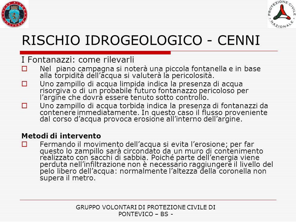 RISCHIO IDROGEOLOGICO - CENNI GRUPPO VOLONTARI DI PROTEZIONE CIVILE DI PONTEVICO – BS -