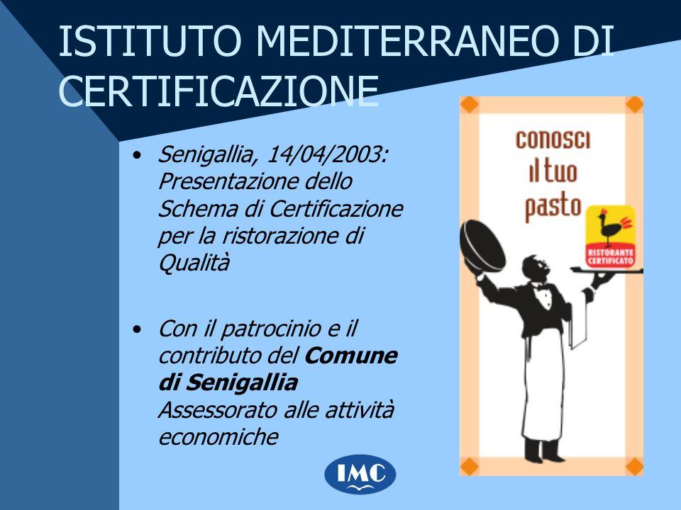 ISTITUTO MEDITERRANEO DI CERTIFICAZIONE Senigallia, 14/04/2003: Presentazione dello Schema di Certificazione per la ristorazione di Qualità Con il pat