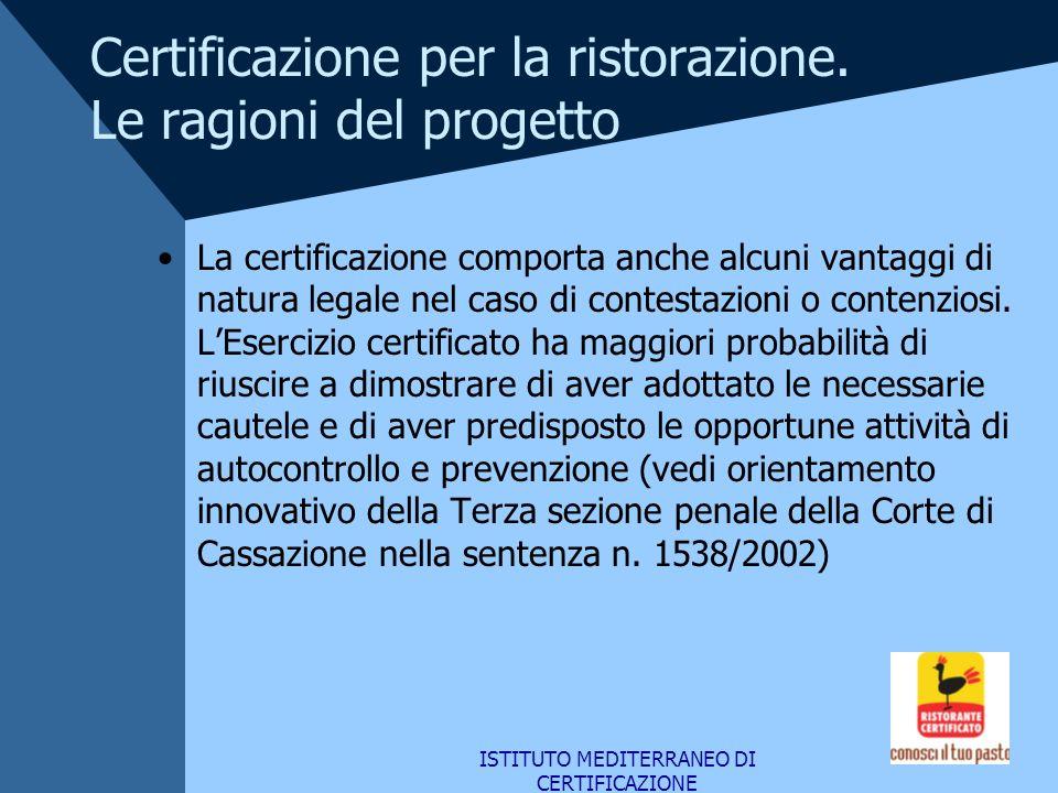 ISTITUTO MEDITERRANEO DI CERTIFICAZIONE Certificazione per la ristorazione. Le ragioni del progetto La certificazione comporta anche alcuni vantaggi d