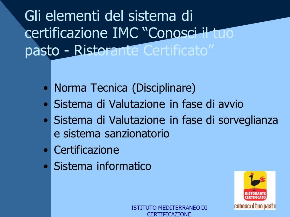 ISTITUTO MEDITERRANEO DI CERTIFICAZIONE Gli elementi del sistema di certificazione IMC Conosci il tuo pasto - Ristorante Certificato Norma Tecnica (Di