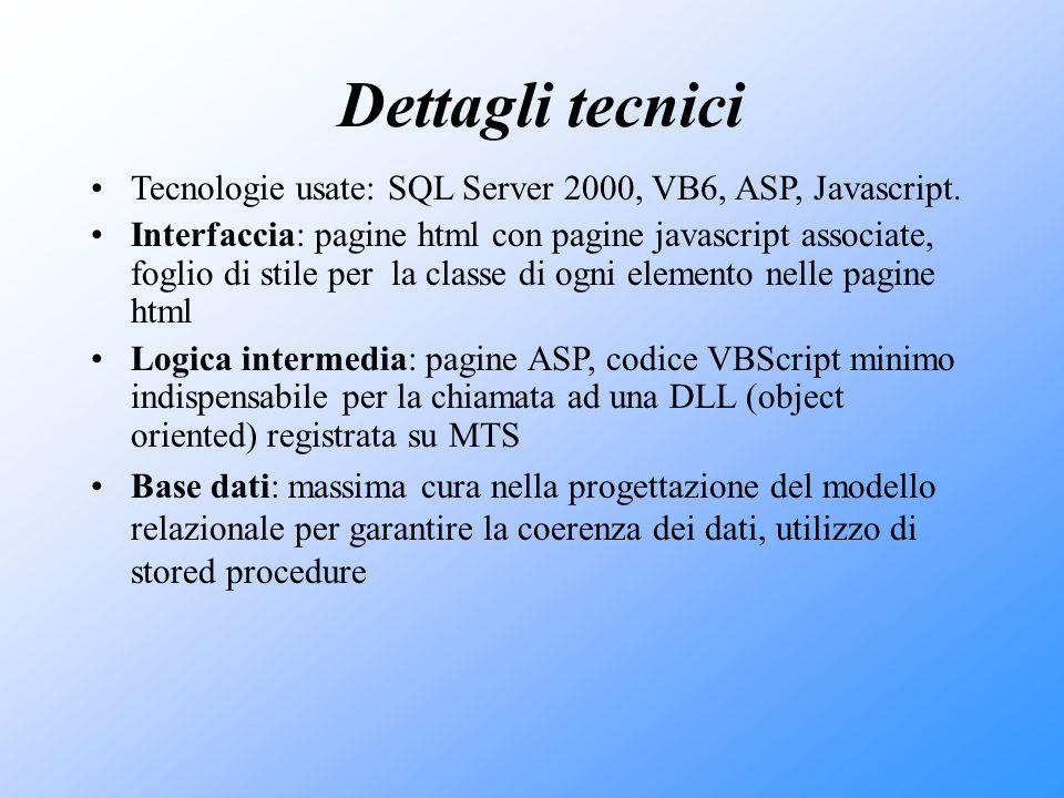 Dettagli tecnici Tecnologie usate: SQL Server 2000, VB6, ASP, Javascript. Interfaccia: pagine html con pagine javascript associate, foglio di stile pe