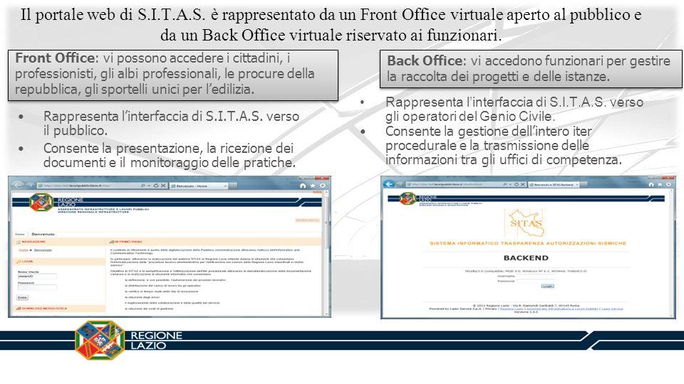 Il portale web di S.I.T.A.S. è rappresentato da un Front Office virtuale aperto al pubblico e da un Back Office virtuale riservato ai funzionari. Fron