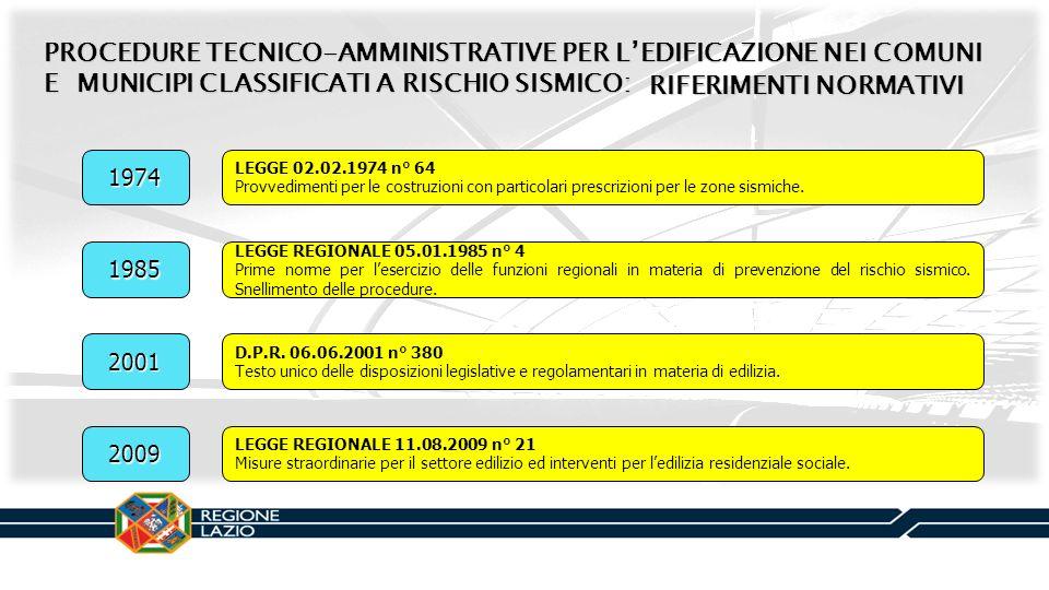 PROCEDURE TECNICO-AMMINISTRATIVE PER LEDIFICAZIONE NEI COMUNI E MUNICIPI CLASSIFICATI A RISCHIO SISMICO: RIFERIMENTI NORMATIVI 1985 LEGGE REGIONALE 05