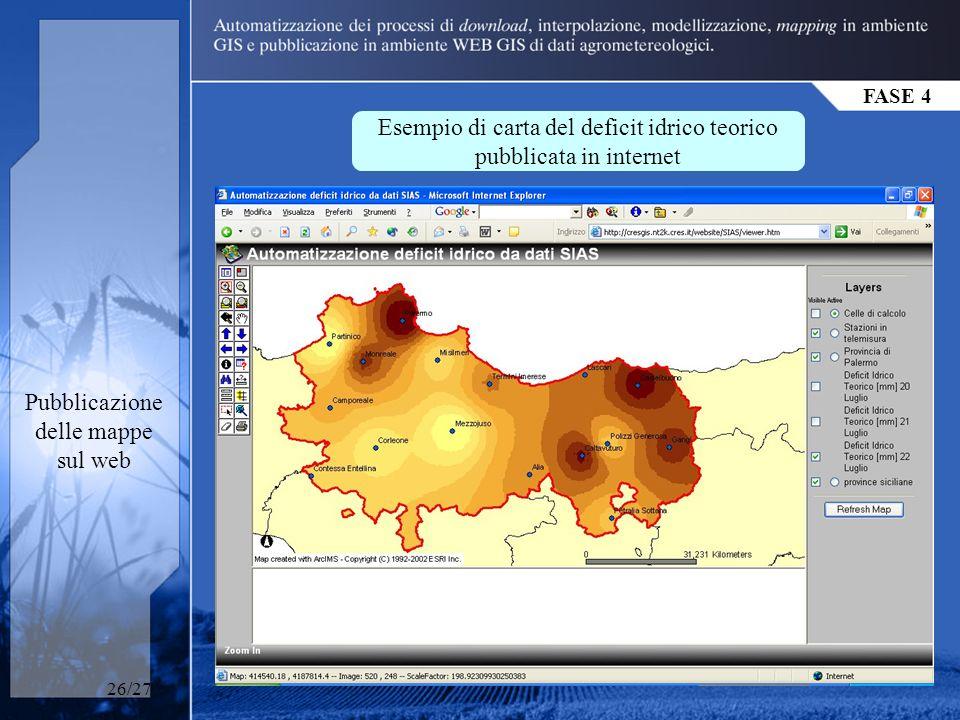 FASE 4 Pubblicazione delle mappe sul web Esempio di carta del deficit idrico teorico pubblicata in internet 26/27