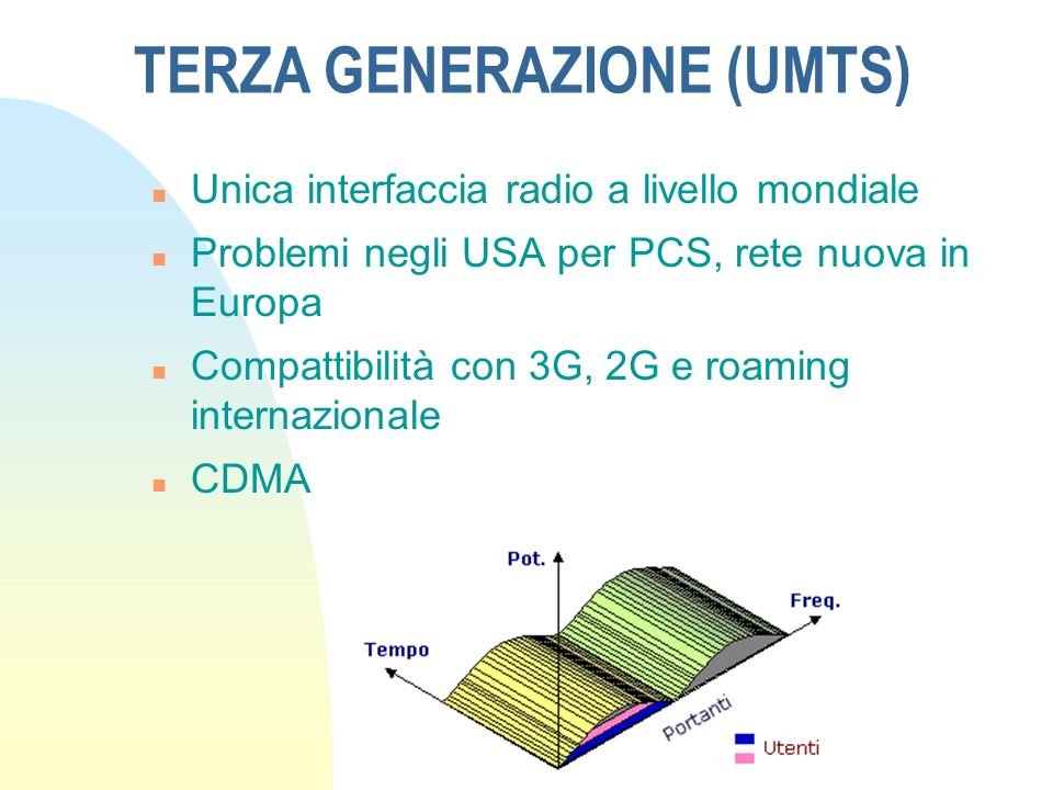 SECONDA GENERAZIONE (GSM) n Uso di tecniche di trasmissione digitale n Accesso a divisione di tempo (TDMA)