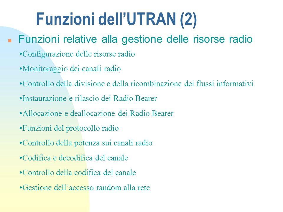 Funzioni dellUTRAN n Cifratura e decifratura dei canali radio n Funzionalità relative alla mobilità Controllo dellaccesso Controllo della congestione Trasmissione delle informazioni al sistema Handover Rimpiazzo del SRNS Funzioni relative al controllo dellaccesso al sistema