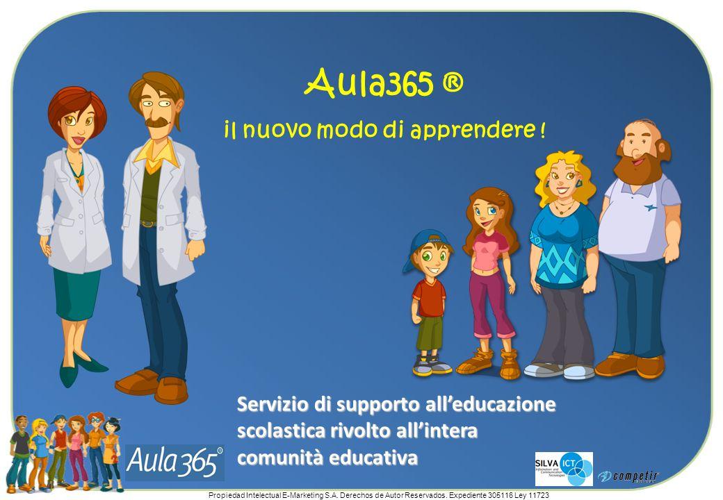 Propiedad Intelectual E-Marketing S.A. Derechos de Autor Reservados. Expediente 305116 Ley 11723 Aula365 ® il nuovo modo di apprendere ! Servizio di s