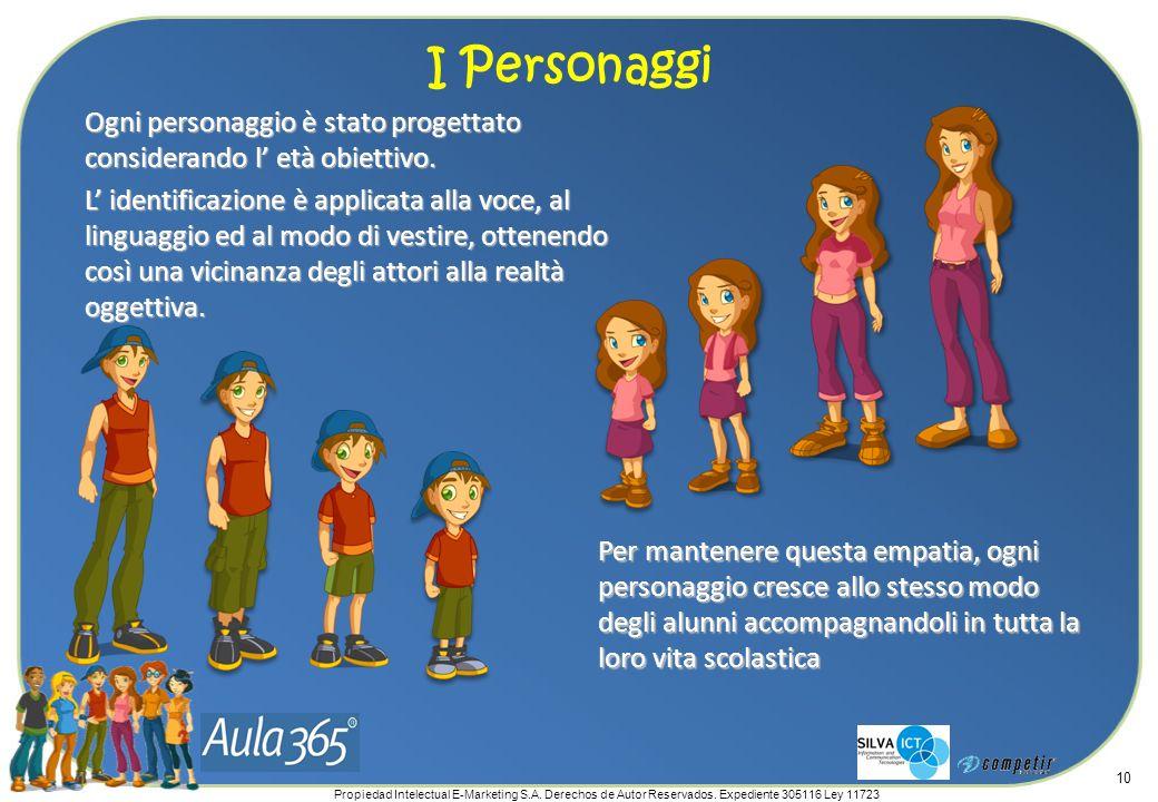 Propiedad Intelectual E-Marketing S.A. Derechos de Autor Reservados. Expediente 305116 Ley 11723 10 Ogni personaggio è stato progettato considerando l