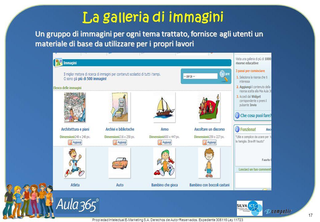 Propiedad Intelectual E-Marketing S.A. Derechos de Autor Reservados. Expediente 305116 Ley 11723 17 Un gruppo di immagini per ogni tema trattato, forn