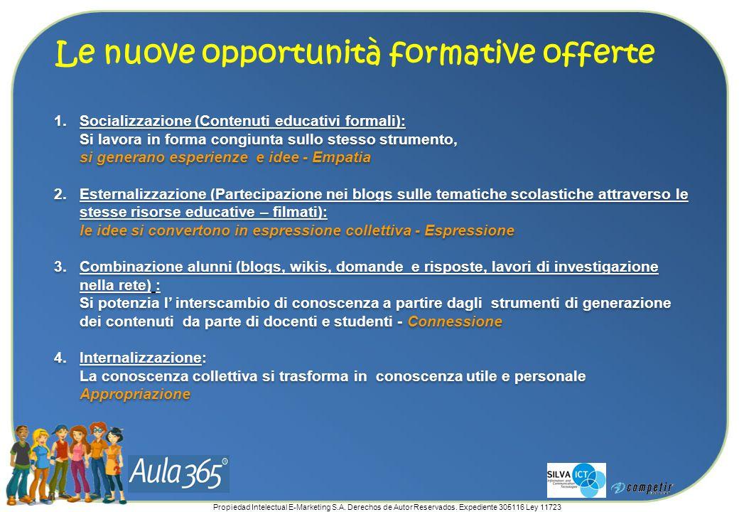 Propiedad Intelectual E-Marketing S.A. Derechos de Autor Reservados. Expediente 305116 Ley 11723 Le nuove opportunità formative offerte 1.Socializzazi