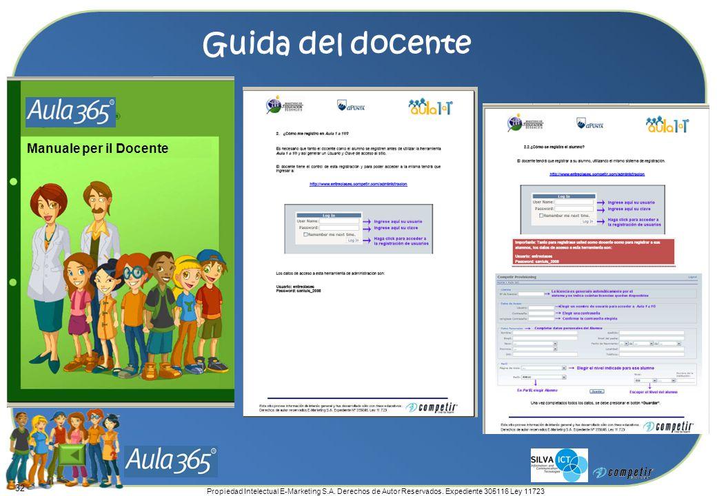 Propiedad Intelectual E-Marketing S.A. Derechos de Autor Reservados. Expediente 305116 Ley 11723 Guida del docente 32 Manuale per il Docente