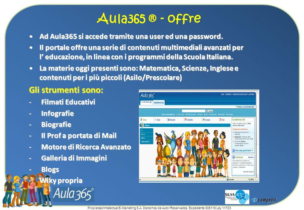 Propiedad Intelectual E-Marketing S.A. Derechos de Autor Reservados. Expediente 305116 Ley 11723 4 Ad Aula365 si accede tramite una user ed una passwo